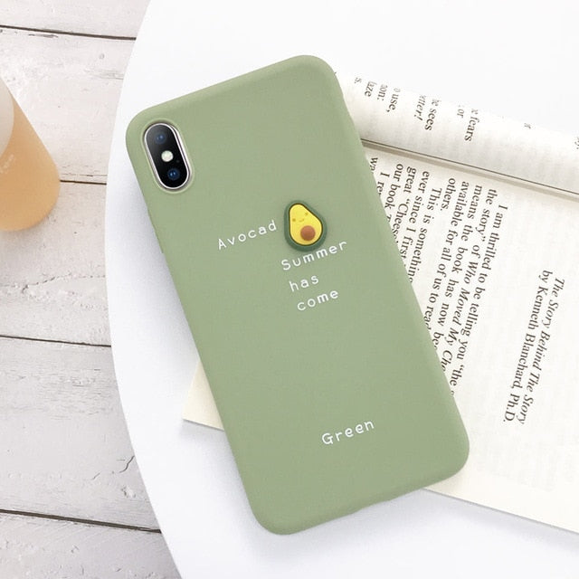 USLION 3D Candy Color Avocado Letter Soft Phone Case For iPhone 11 Pro XS MAX XR X Silicone Case For iPhone 7 6 6S 8 Plus Cover
