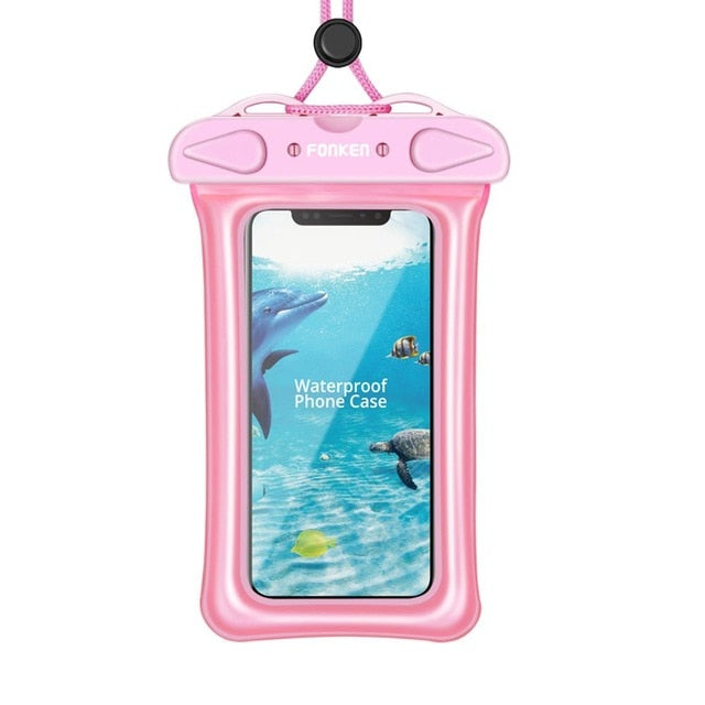 FONKEN Waterproof Case for Phone Underwater Phone Case IPX8 Dry Bag Airbag float Storage Pouch Touch Android Cell Phone Covers