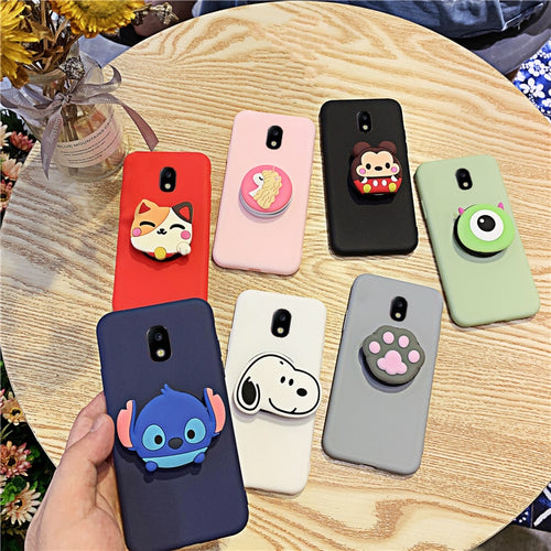 3D Silicone Cartoon Phone Holder Case For Samsung Galaxy J3 J8 J7 Pro J2 Core J6 J5 J4 Plus 2018 2017 2016 Cute Stand Cover