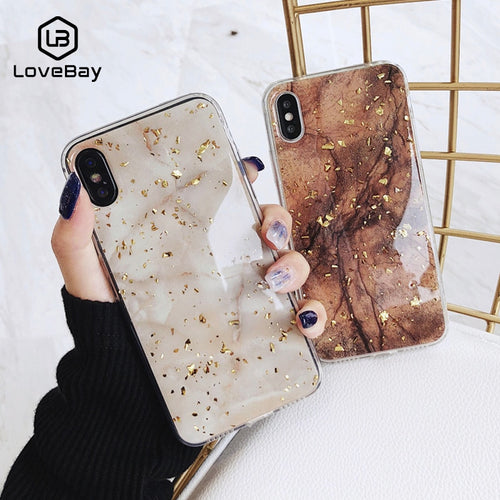 Lovebay Gold Foil Bling Marble For iPhone 11 Pro Max X XS Max XR Phone Case Soft TPU Cover For iPhone 7 8 6 6s Plus Glitter Case