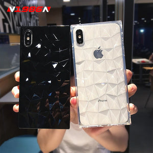 N1986N For iPhone 6 6s 7 8 Plus X XR XS Max Phone Case Fashion Diamond Texture Square Design Clear Soft TPU Fundas For iPhone X