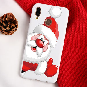 Christmas Cartoon Elk Phone Case For Huawei Mate 10 20 30 Lite P8 P9 P10 P20 P30 Lite Mini 2017 P Smart Y6 Y7 Pro 2019 TPU Cover