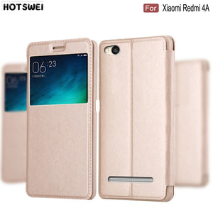 HOTSWEI Case for Xiaomi Redmi 4A Global Version 32GB 16GB Case Fashion Window View Leather Flip Cover for Xiaomi Redmi 4A Cases