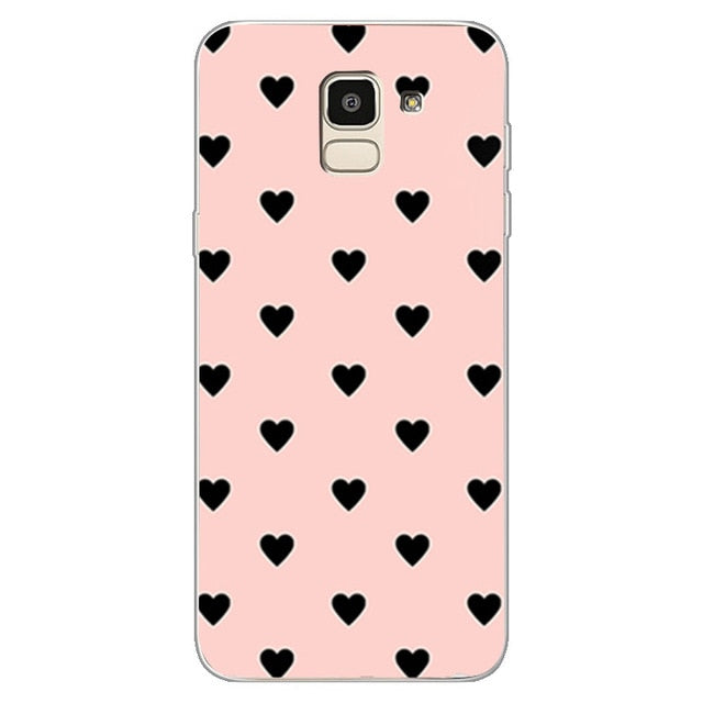 Couples Love Heart Pink Case For Samsung Galaxy S8 S9 Plus J4 J6 J8 2018 S7 Edge Note 9 Case Cover Soft Silicone Girl Men Case