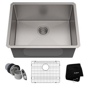 KRAUS STANDART PRO™ 23-INCH 16 GAUGE UNDERMOUNT SINGLE BOWL STAINLESS STEEL KITCHEN SINK