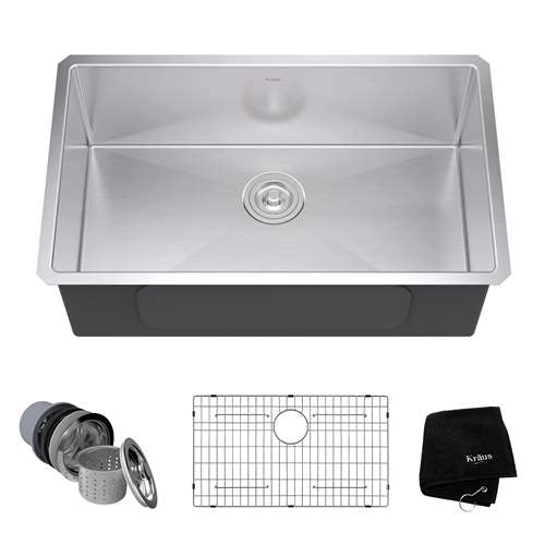 KRAUS STANDART PRO™ 30-INCH 16 GAUGE UNDERMOUNT SINGLE BOWL STAINLESS STEEL KITCHEN SINK