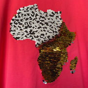 Women's Africa Flip Sequins High V-neck Top - WHITE