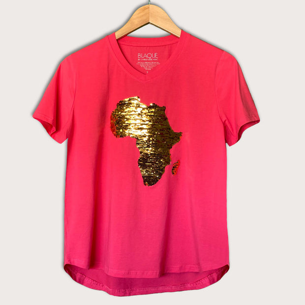 Women's Africa Flip Sequins High V-neck Top - CORAL