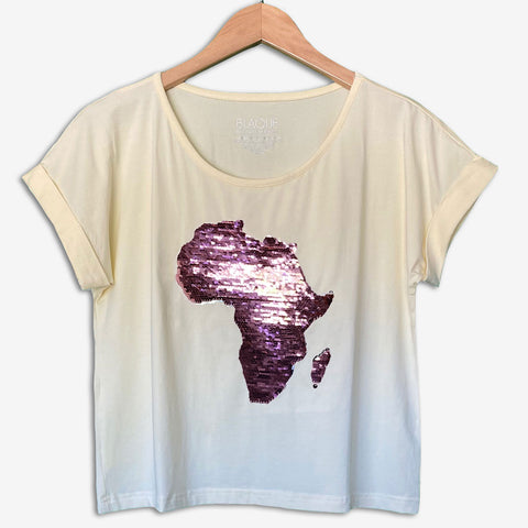 Women's Africa Flip Sequins Cuffed Crop Top - IVORY