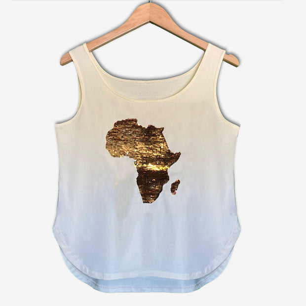 Women's Africa Flip Sequins Flared Tank Top - IVORY