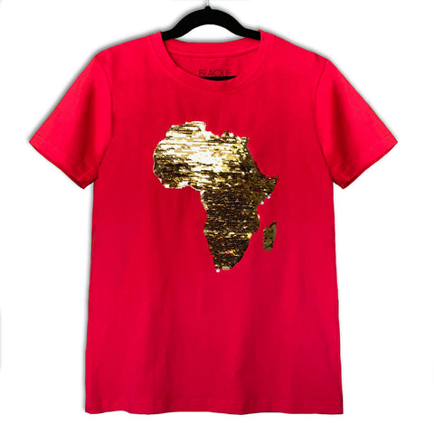 Kids Unisex Africa Flip Sequins Tee - RED