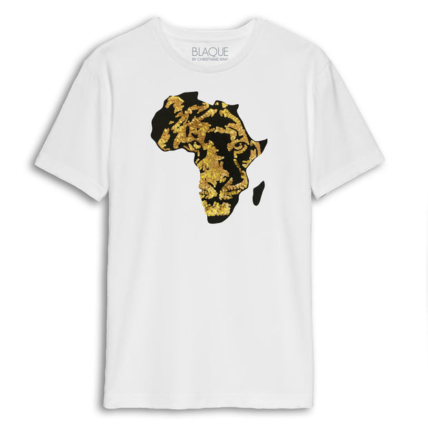 Men's Black Panther Embroidered Sequins Africa tee - NAVY