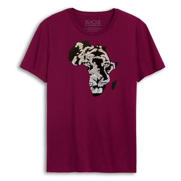 Men's Black Panther Embroidered Sequins Africa tee - MERLOT