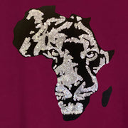 Men's Black Panther Embroidered Sequins Africa tee - HEATHER GREY