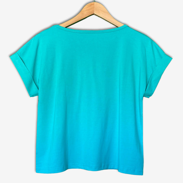 Women's Africa Flip Sequins Cuffed Crop Top - TURQUOISE