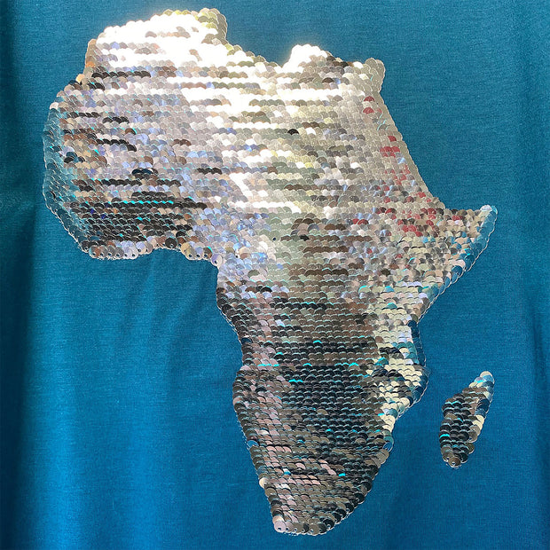 Women's Africa Flip Sequins High V-neck Top - TEAL