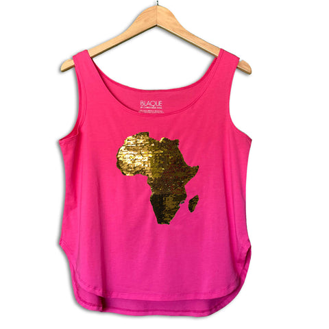 Women's Africa Flip Sequins Flared Tank Top - NEON GREEN