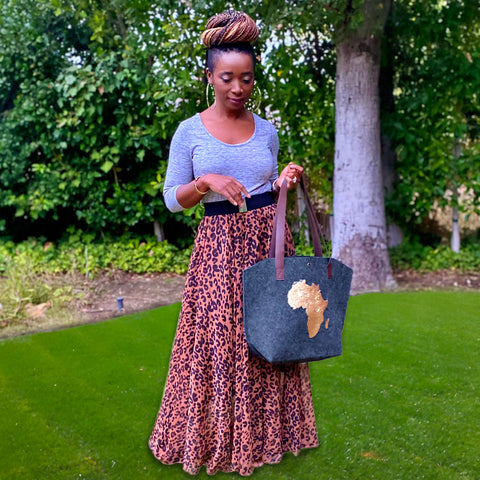 Flip Sequins Africa Wool Felt Tote Bag