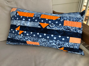 Quilted shibori pillow