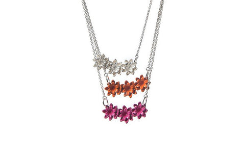 Daisy trio necklace - sterling silver