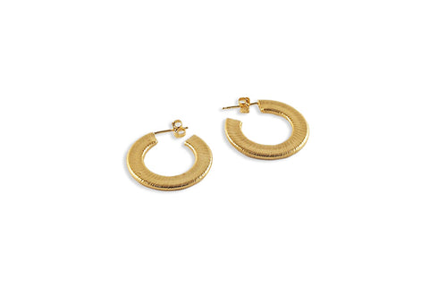 Slightly Textured Hoops - Gold
