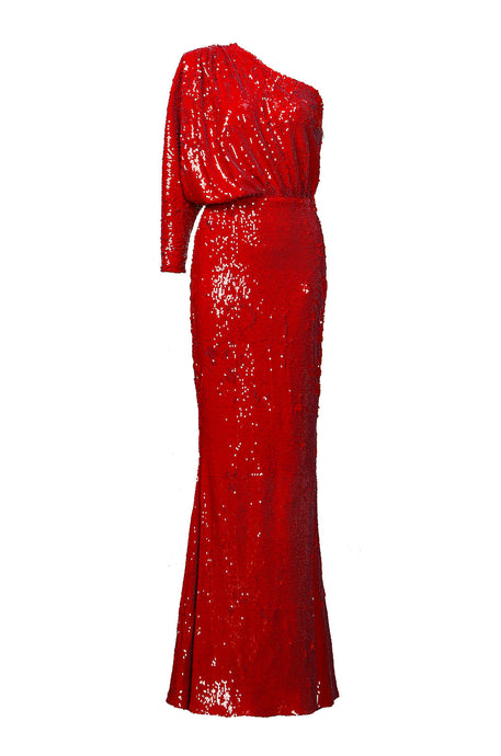 One Sleeve Red Sequin Gown