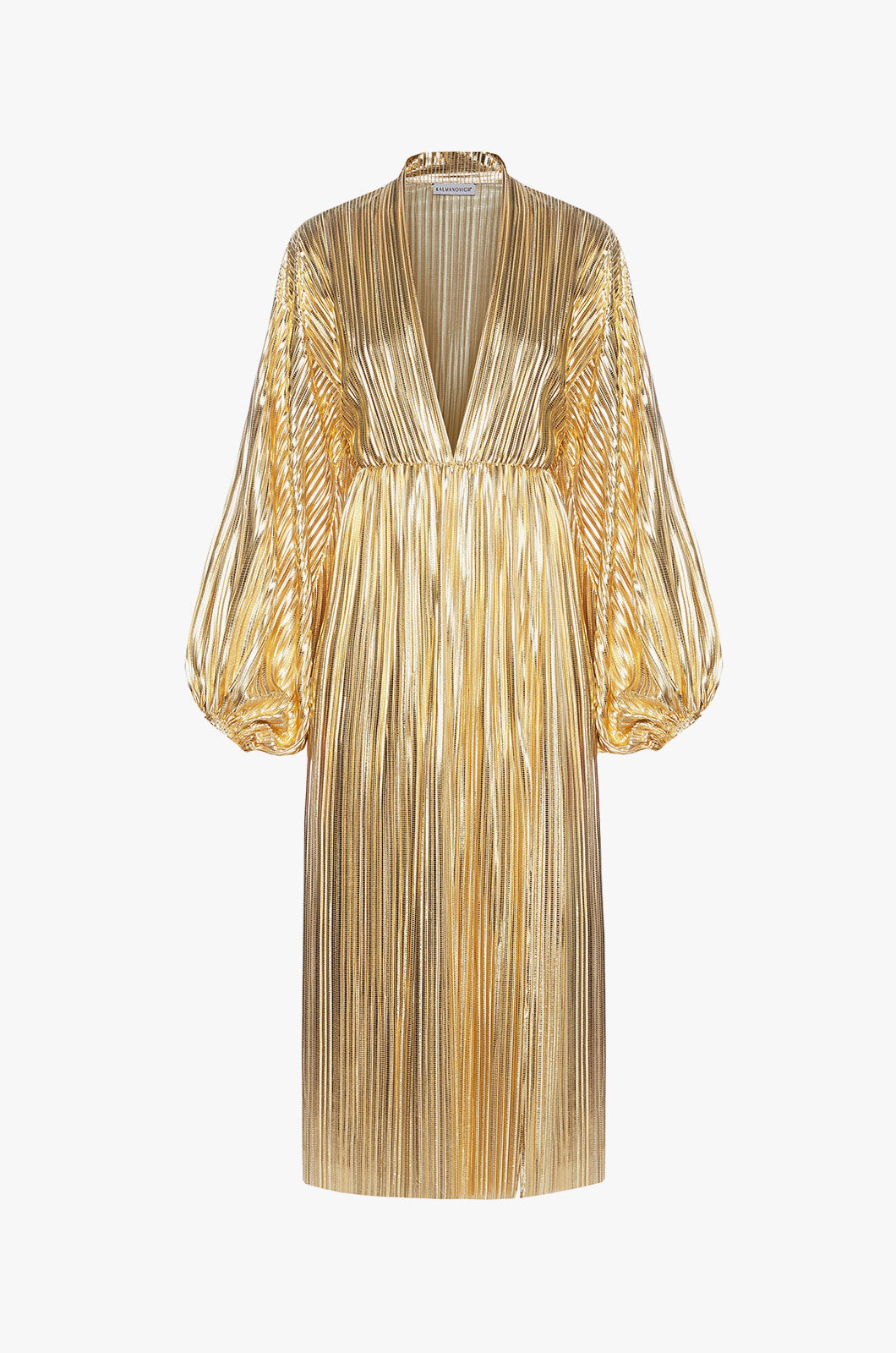 Golden Maxi Dress with Sleeves