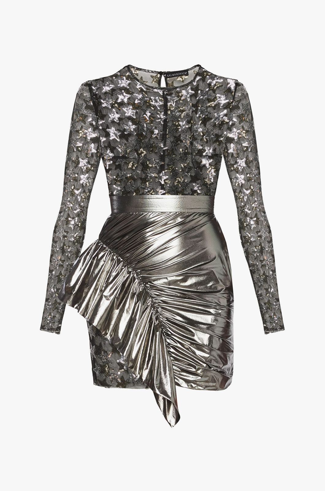 Dress with Star Sheer Top and Silver Skirt