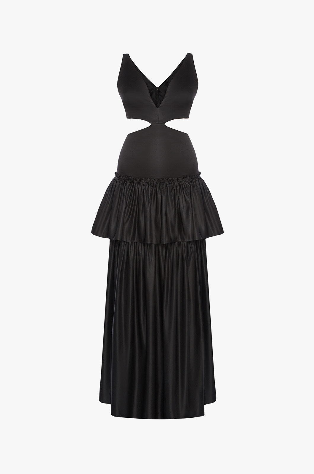 Black Maxi Dress with Cut-outs and Ruffle