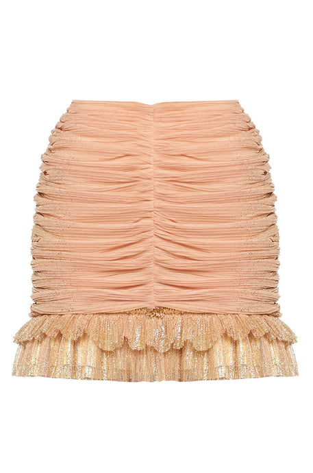 Pink and golden mini skirt