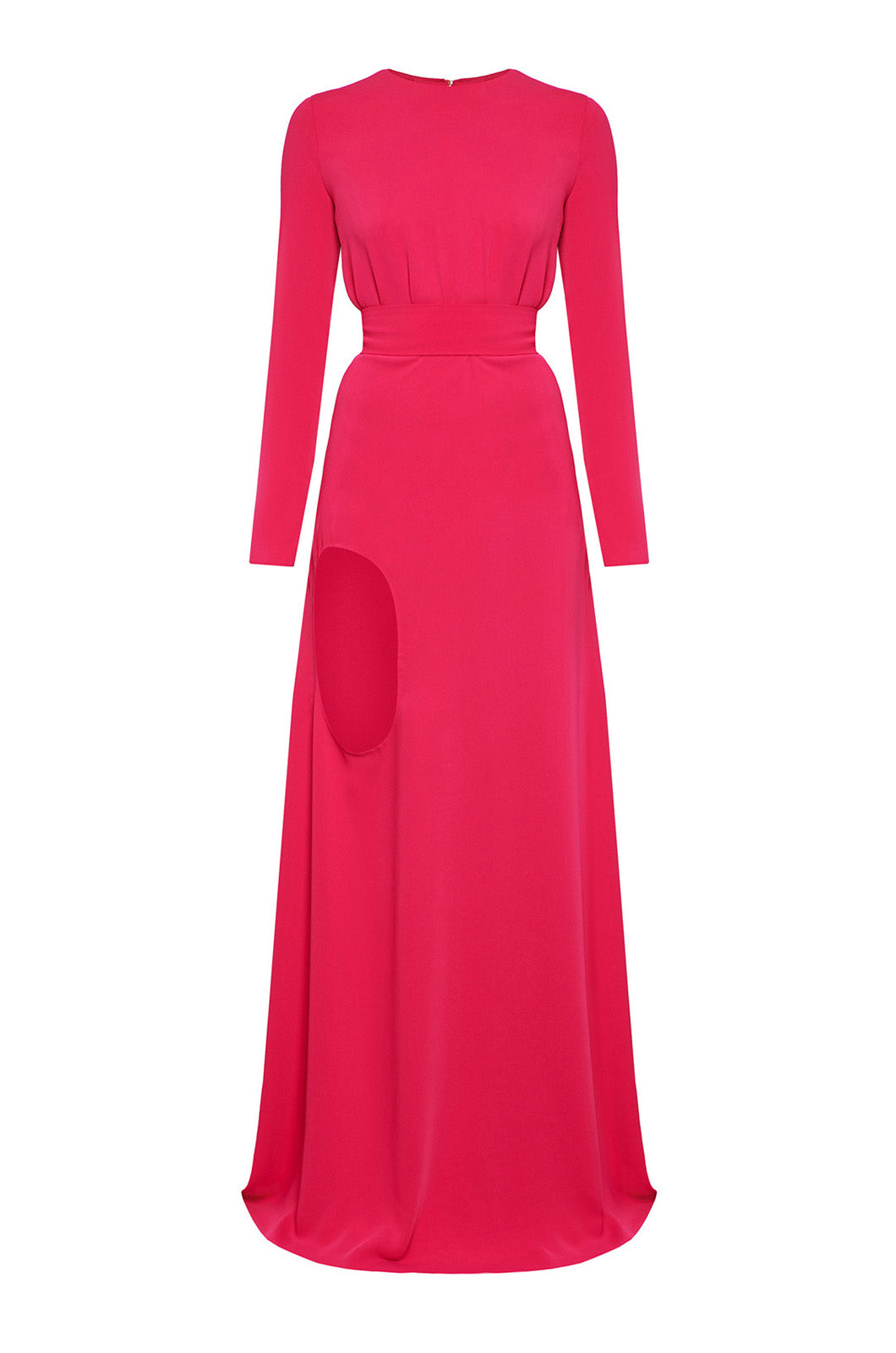 Fucshia maxi dress with leg cut-out