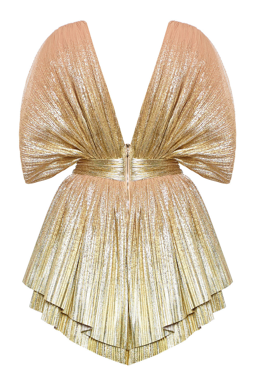 Golden metallic mini dress