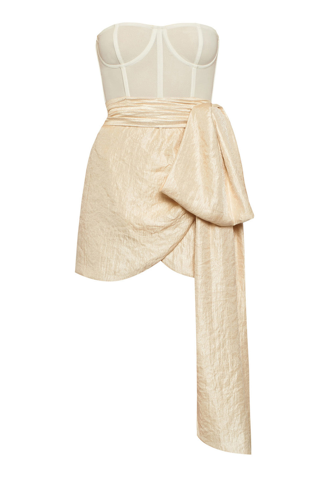 Champagne bustie dress with a tail