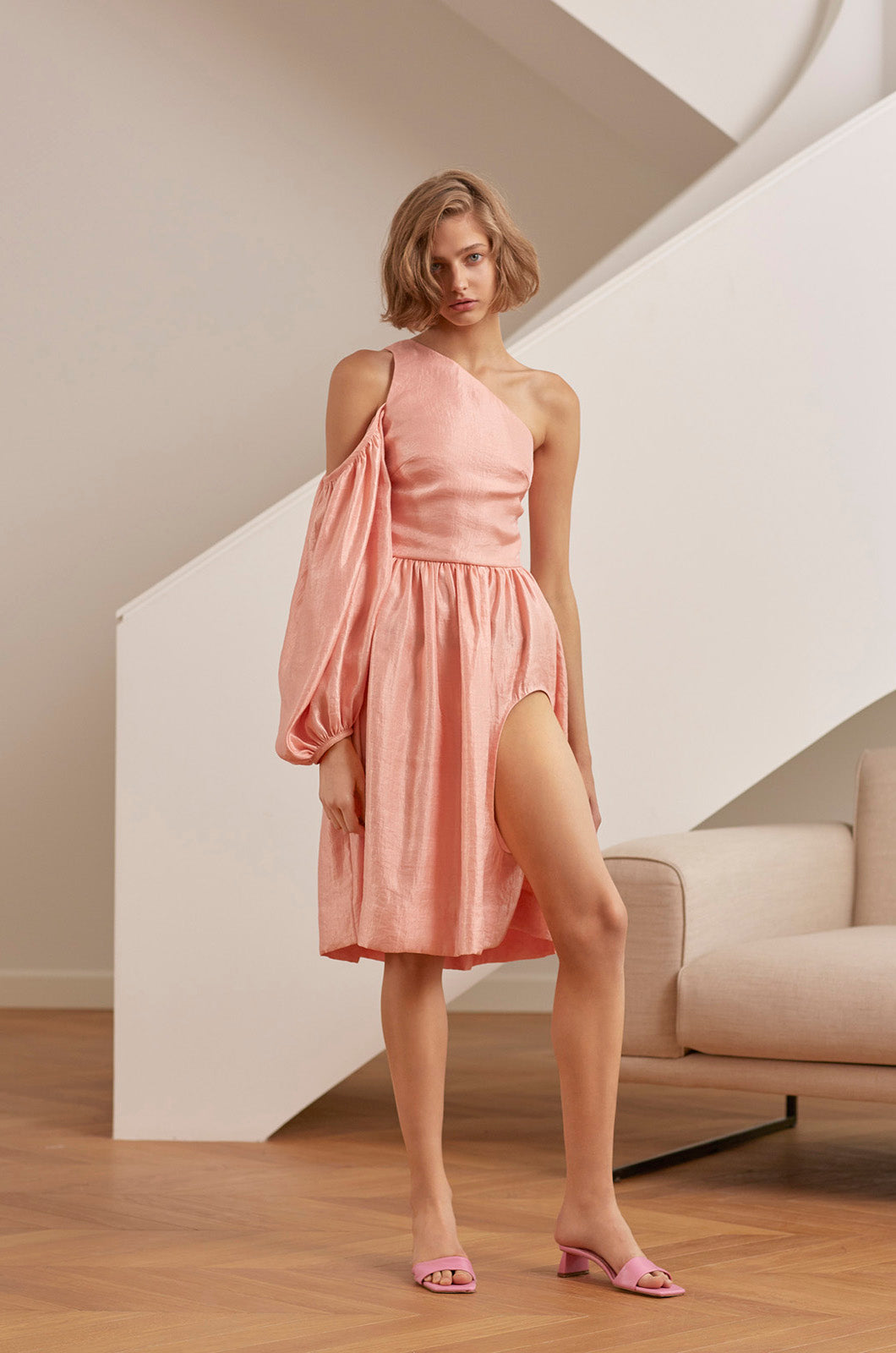 Pink one shoulder dress with leg cut-out