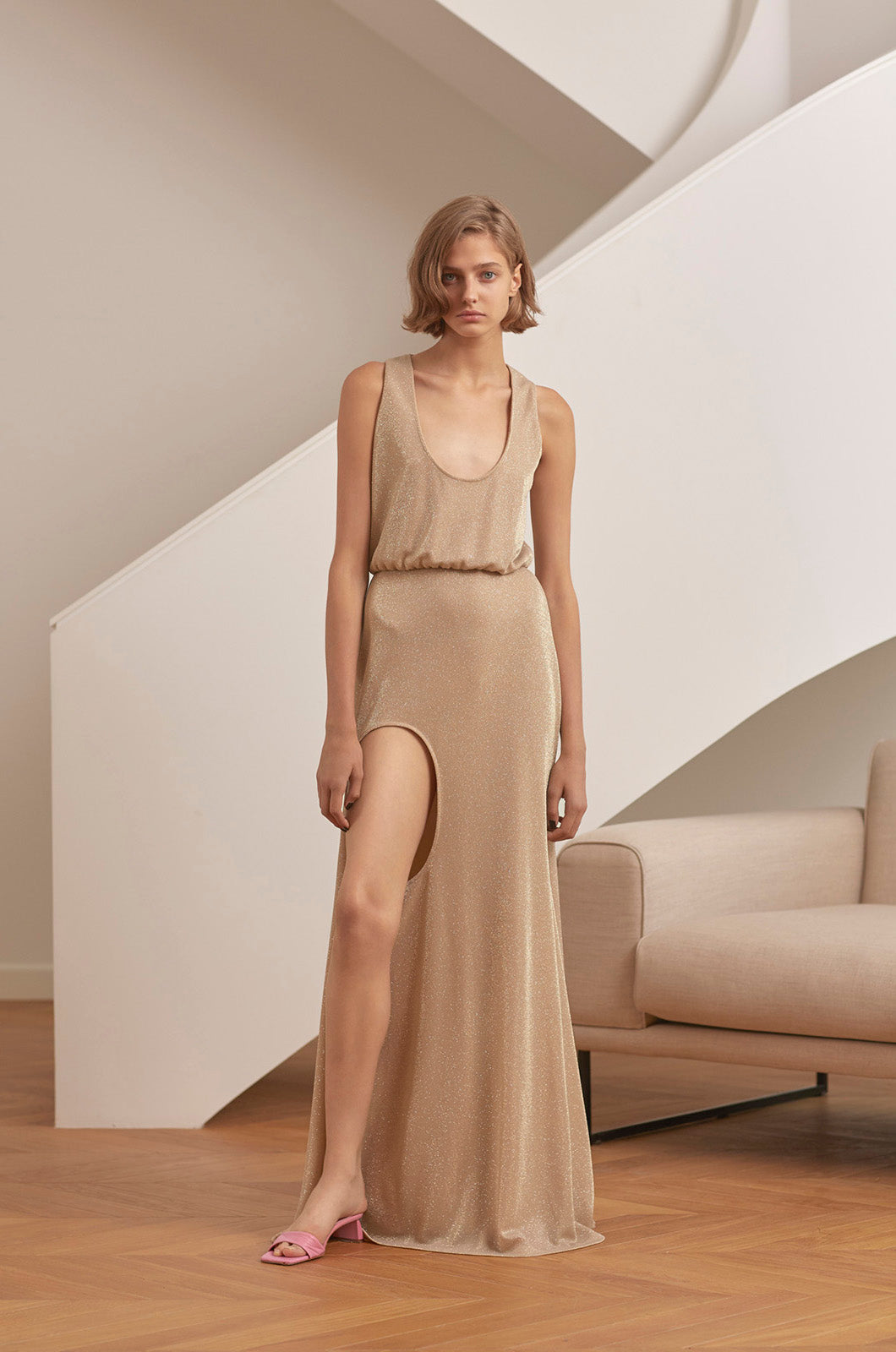 Golden maxi dress with leg cut-out