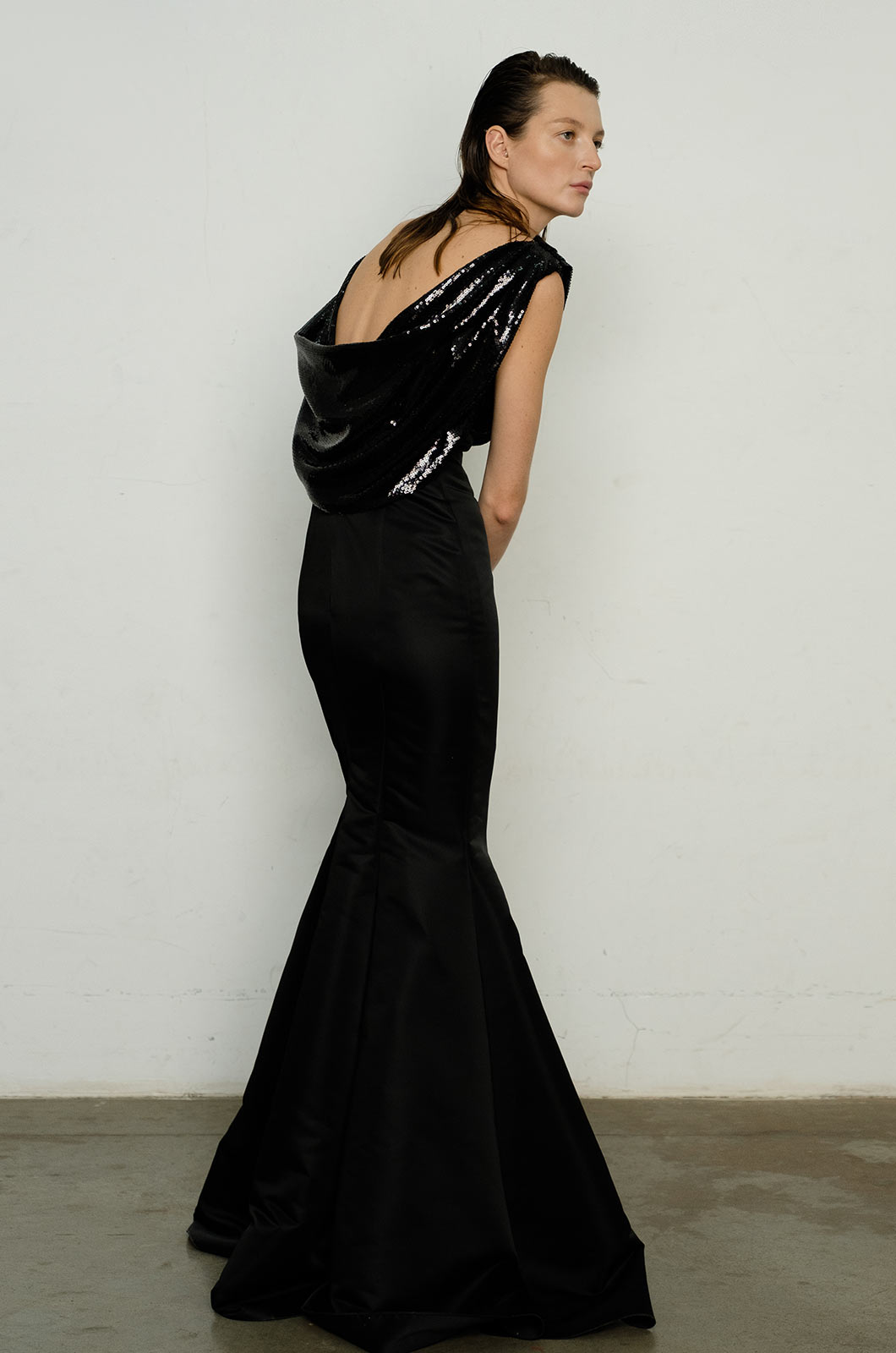 Sequin Open Back Gown