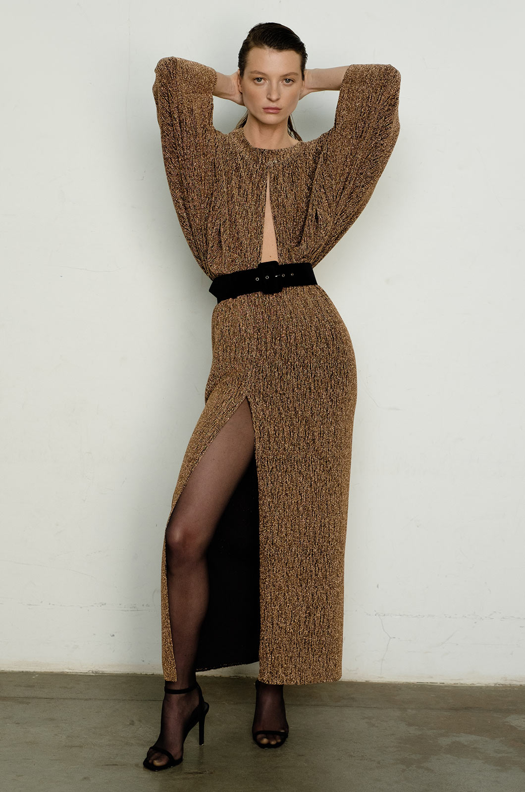 Bronze Shimmer High Slit Dress with Belt