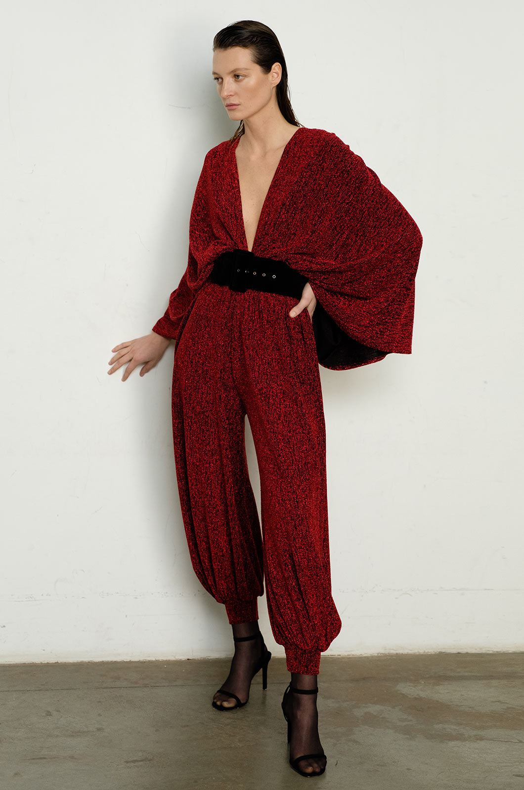 Red Shimmer Jumpsuit with Belt