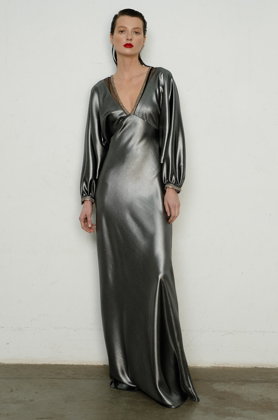 Long Sleeve Embellished Silver Gown