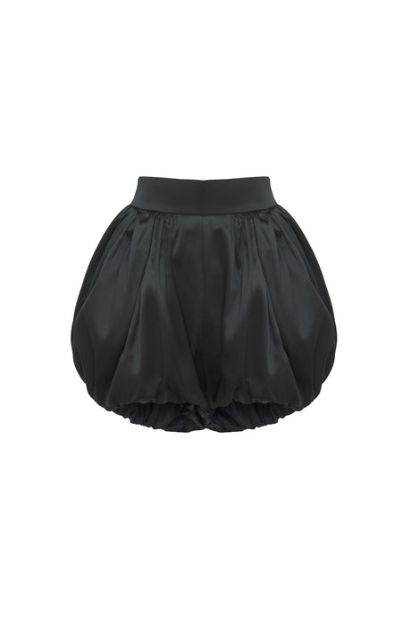 Black Puff Draped Sleeve Shorts