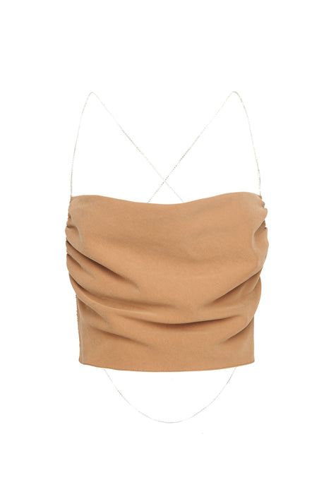Camel Crystal Straps Cowl Neck Crop Top