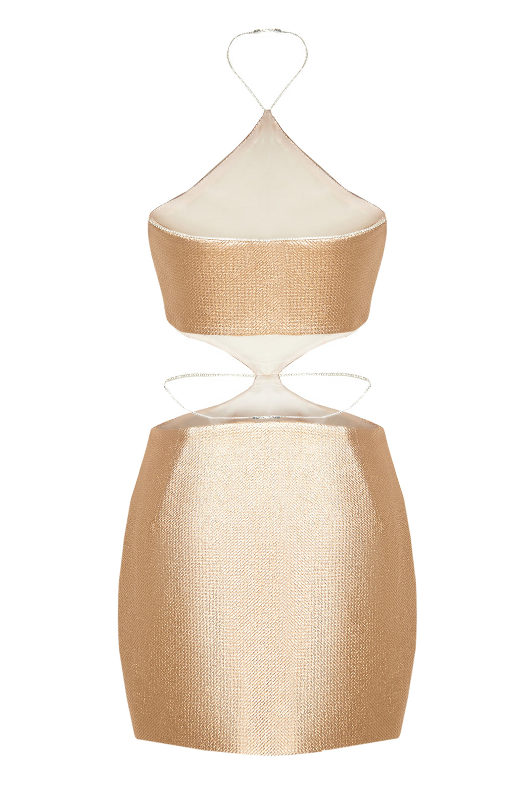 Halter Crystal Straps Gold Mini Dress