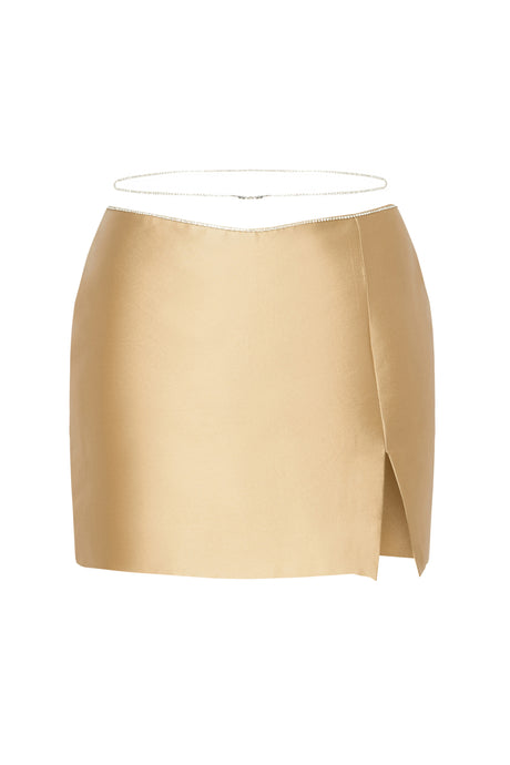 Gold Crystal Straps Mini Skirt