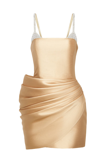Crystal Bra Gold Dress