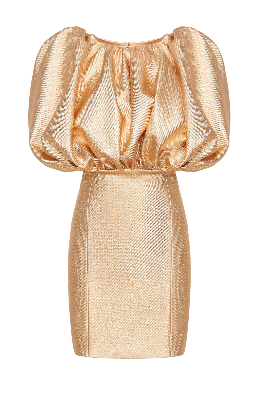 Sleevless Puff Puff Top Gold Dress