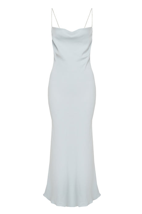 Sky Blue Cowl Neck Crystal Straps Slip Dress