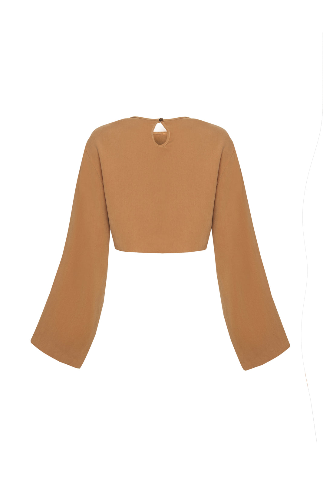 Wide Sleeve Camel Crop Top