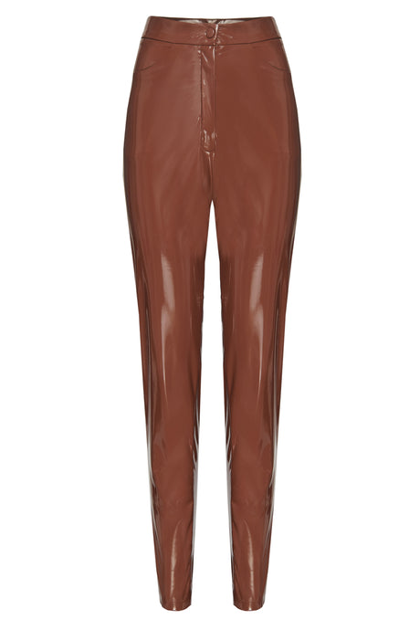 Brown Patent Skinny Pants