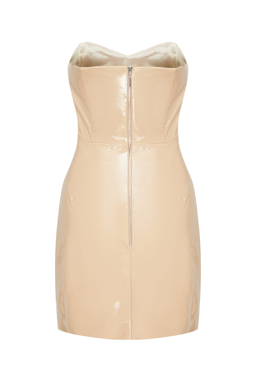 Nude Patent Strapless Mini Dress