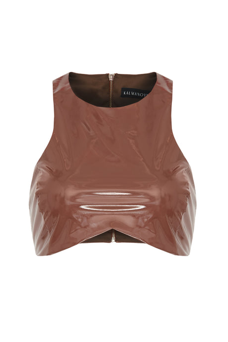 Brown Patent Sleeveless Crop Top